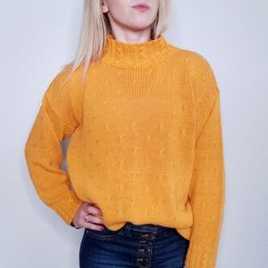 80-90s Vintage Yellow Oversized Cable Knit Sweater